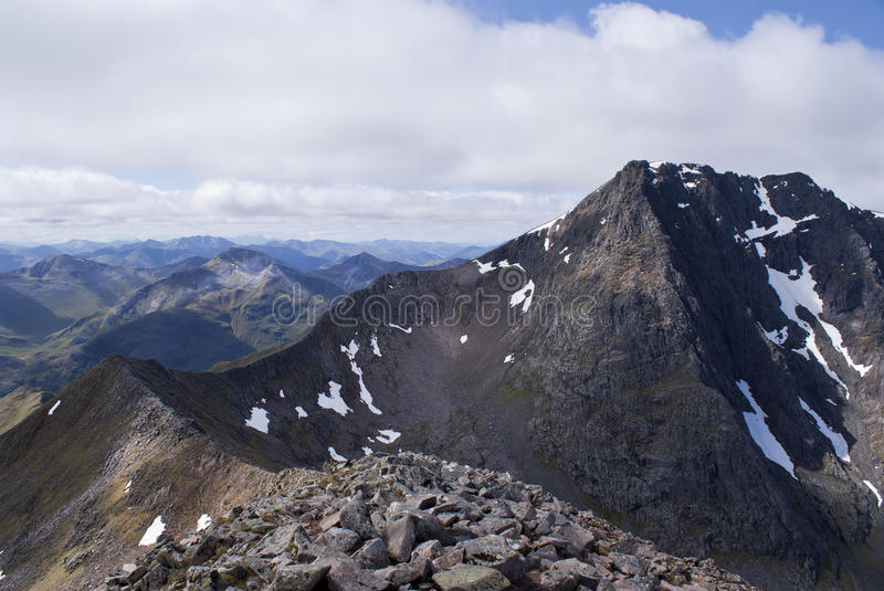Ben Nevis Carn Mor Dearg Arete, Scotland. A view of the Carn Mor Dearg Arete leading to the summit of Ben Nevis in Scotland, Highest mountain in the UK stock image