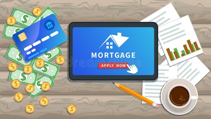 Ben online van toepassing voor hypotheeklening Bezitsinvestering, huislening Vlakke tablet of smartphone met huisembleem royalty-vrije illustratie