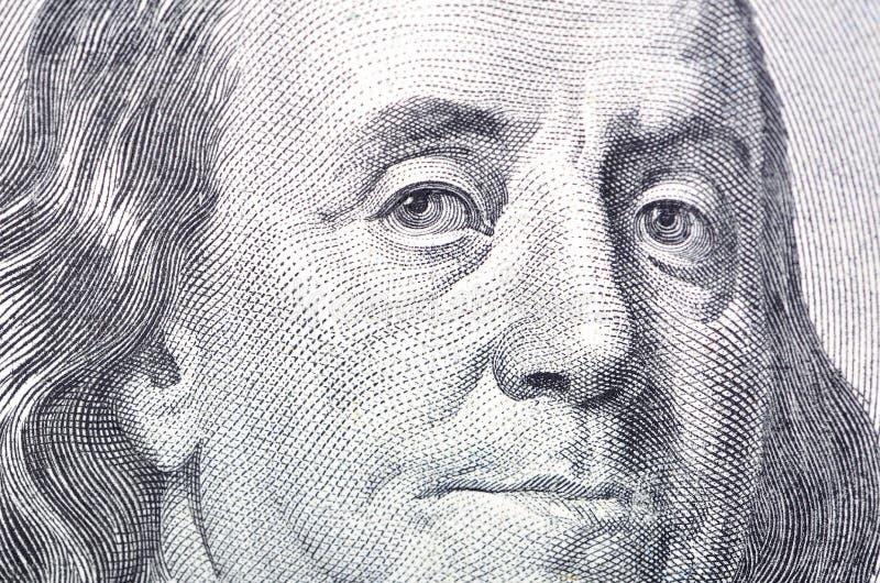 100 Ben rachunku zakończenia dolarowy twarzy Franklin macro s w górę my obrazy royalty free