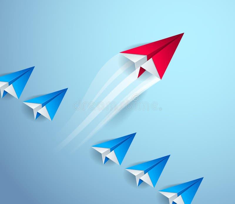 Ben speciaal, ben eerste pionier, ben leider, leiding en het succesconcept, lijn van origamidocument stuk speelgoed vliegtuigen ? vector illustratie
