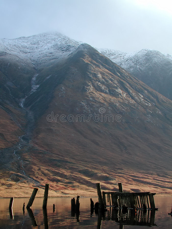 Ben Starav, Old Jetty, Loch Etive, Scotland stock photography