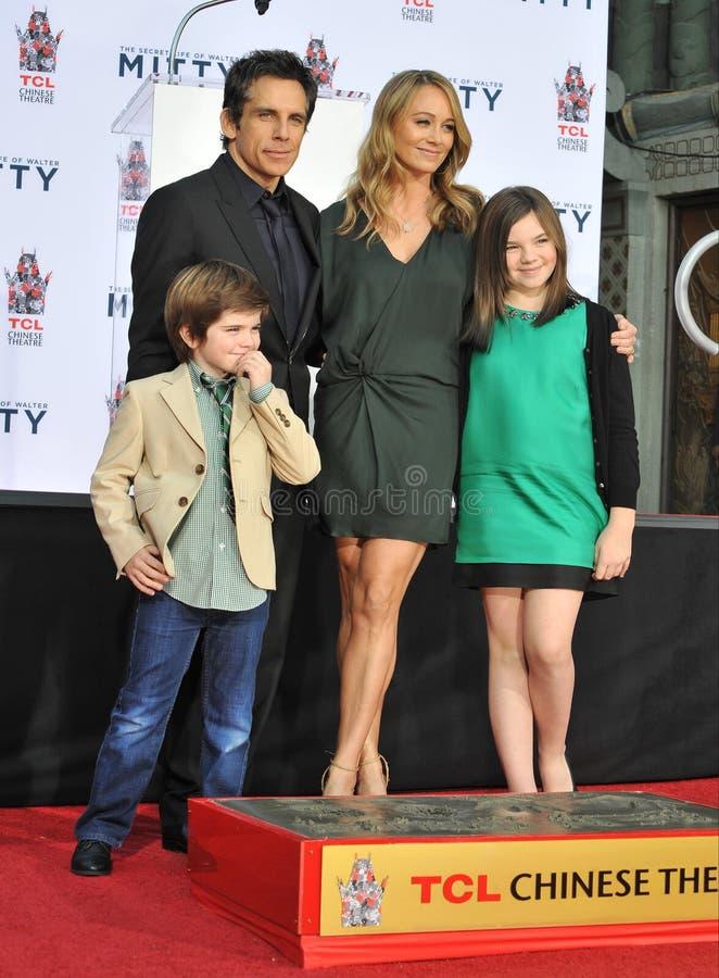 Ben Stiller & Christine Taylor & Ella Olivia Stiller & Quinlin Dempsey Stiller royalty-vrije stock afbeeldingen
