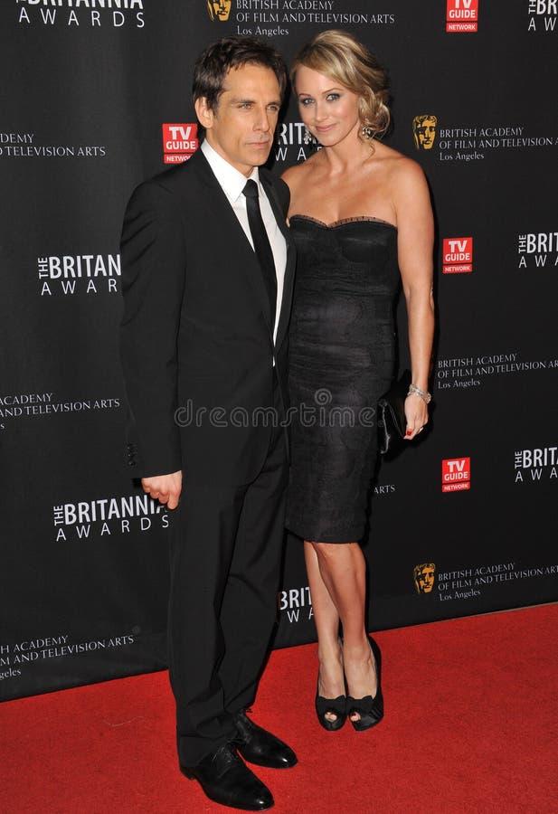 Ben Stiller & Christine Taylor. LOS ANGELES, CA - November 30, 2011: Ben Stiller & Christine Taylor at the 2011 BAFTA/LA Britannia Awards at the Beverly Hilton stock image