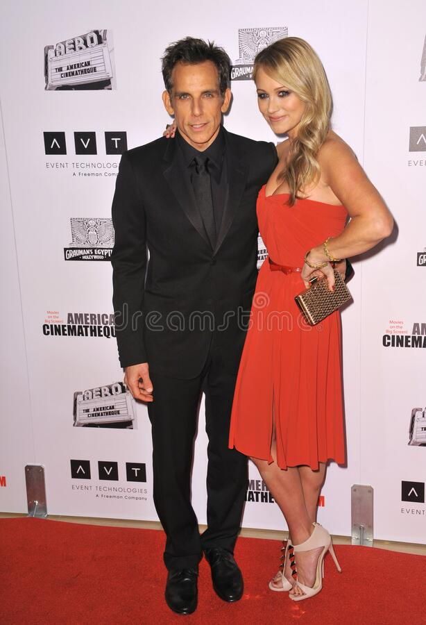Ben Stiller & Christine Taylor. LOS ANGELES, CA - November 15, 2012: Ben Stiller & wife Christine Taylor at the 26th Annual American Cinematheque Awards Ceremony royalty free stock photo