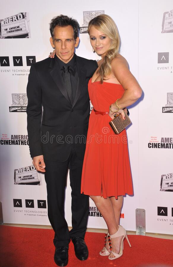 Ben Stiller & Christine Taylor. LOS ANGELES, CA - November 15, 2012: Ben Stiller & wife Christine Taylor at the 26th Annual American Cinematheque Awards Ceremony royalty free stock photography