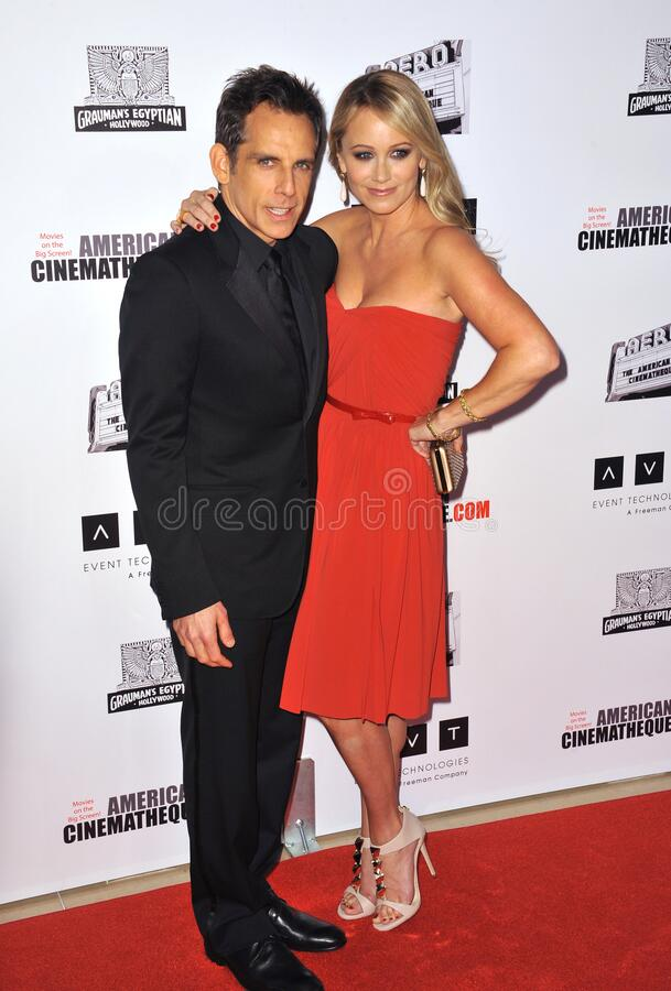Ben Stiller & Christine Taylor. LOS ANGELES, CA - November 15, 2012: Ben Stiller & wife Christine Taylor at the 26th Annual American Cinematheque Awards Ceremony royalty free stock photos