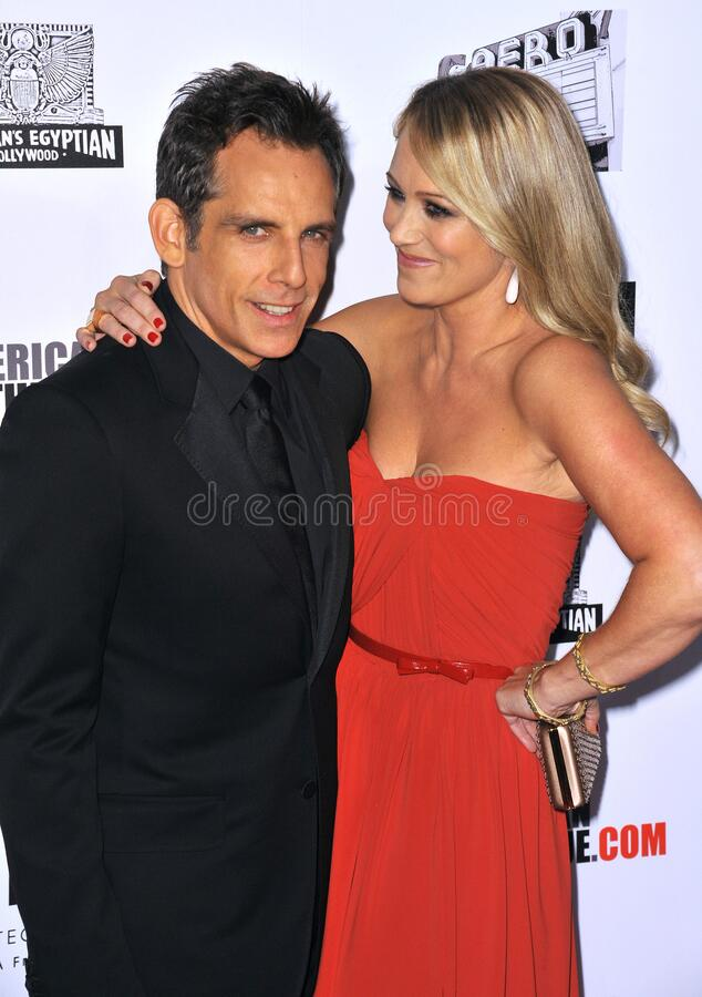 Ben Stiller & Christine Taylor. LOS ANGELES, CA - November 15, 2012: Ben Stiller & wife Christine Taylor at the 26th Annual American Cinematheque Awards Ceremony royalty free stock images