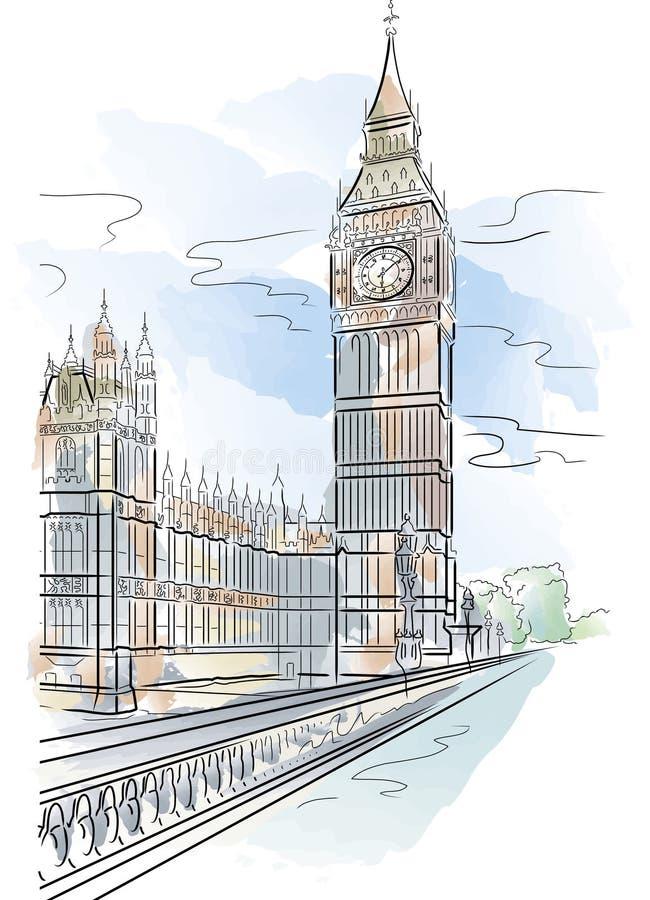 ben stor london tornvektor stock illustrationer