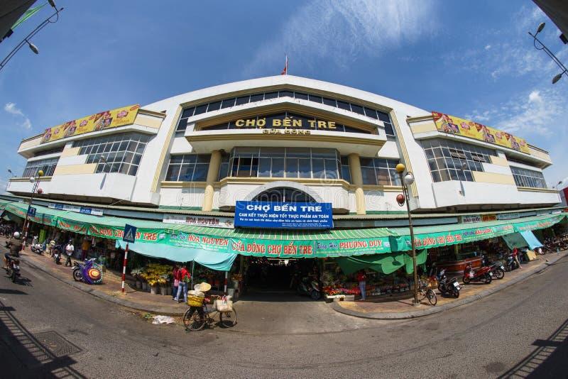 Ben Tre City Market le plus grand en ville images stock