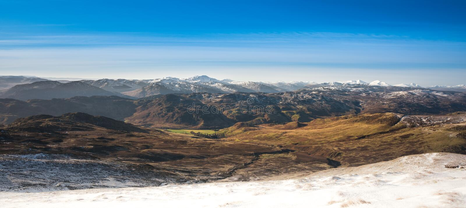 Ben Vorlich and Stuc a Chroin - view from the path to Ben Chonzie. Scottish munros covered in snow stock images