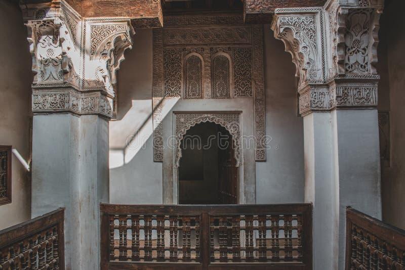 Ben Youssef Madrasa em C4marraquexe, Marrocos fotografia de stock