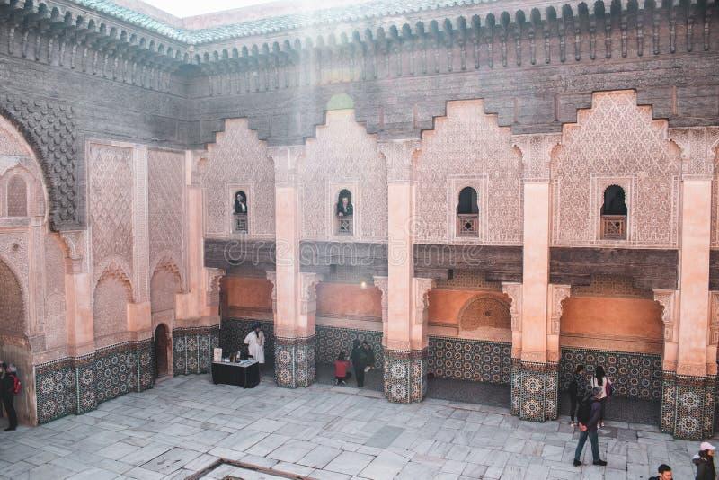 Ben Youssef Madrasa em C4marraquexe, Marrocos imagens de stock royalty free