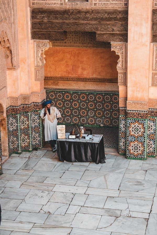 Ben Youssef Madrasa em C4marraquexe, Marrocos imagem de stock