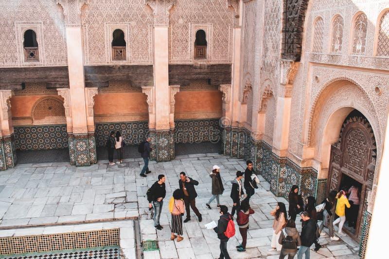 Ben Youssef Madrasa en Marrakesh, Marruecos imagenes de archivo