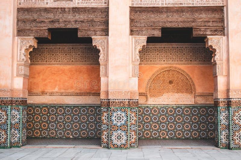 Ben Youssef Madrasa a Marrakesh, Marocco fotografia stock libera da diritti