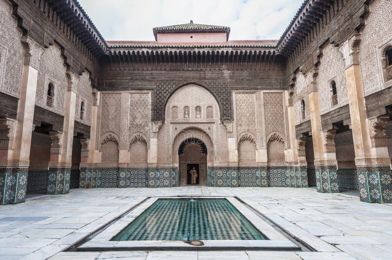 Ben Yussef Medersa in Marrakech, Marokko stock afbeeldingen