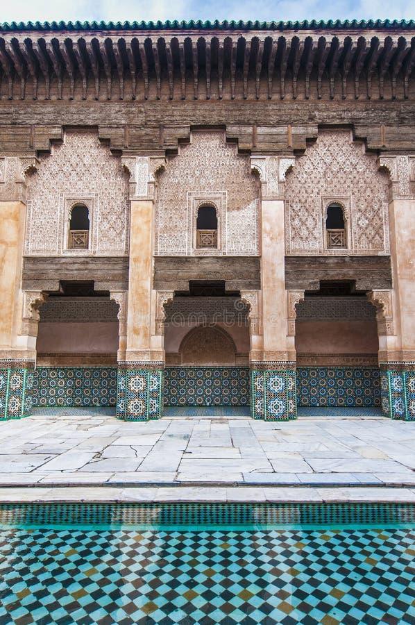 Ben Yussef Medersa på Marrakech, Marocko royaltyfri fotografi