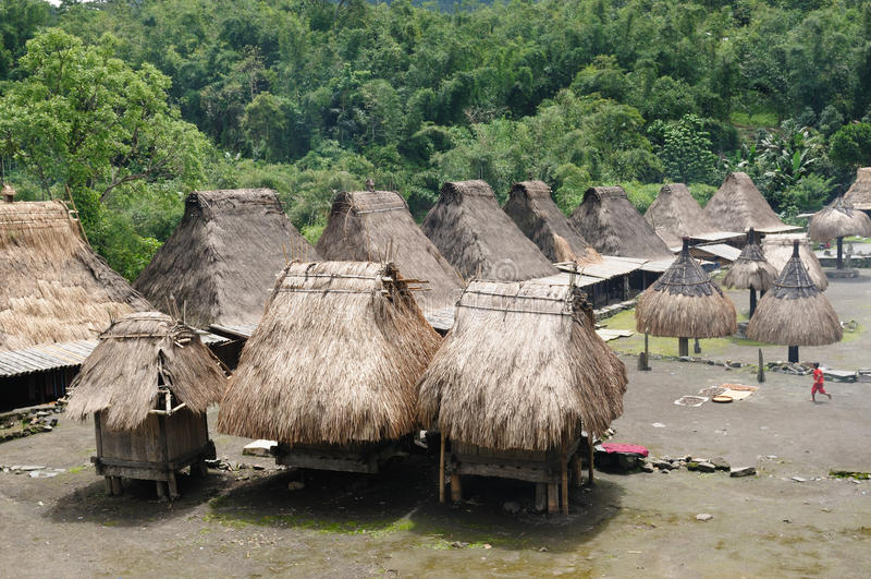 bena flores印度尼西亚村庄 免版税库存照片