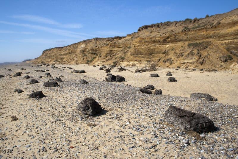 Benacre海滩,萨福克,英国 图库摄影