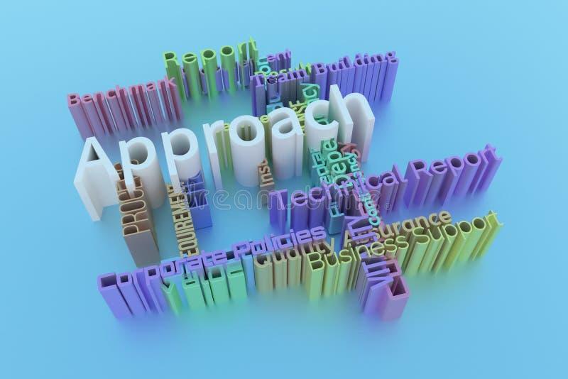 Benadering, bedrijfssleutelwoord en woordenwolk Voor webpagina, grafisch ontwerp, textuur of achtergrond het 3d teruggeven vector illustratie
