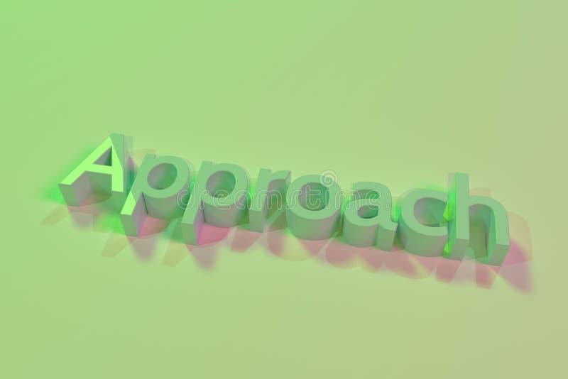 Benadering, typografie, CGI, sleutelwoorden voor ontwerptextuur, achtergrond het 3d teruggeven stock illustratie