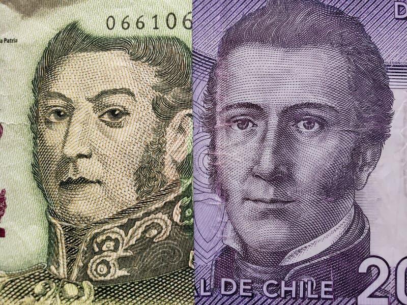 benadering van Argentijns bankbiljet van vijf peso's en Chileens bankbiljet van 2000 peso's