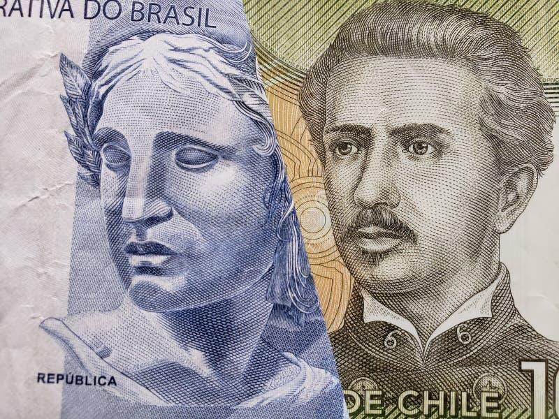 benadering van Braziliaans bankbiljet van twee reais en Chileens bankbiljet van 1000 peso's