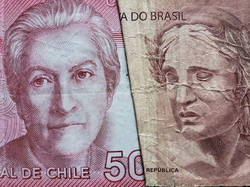benadering van Chileens bankbiljet van 5000 peso's en Braziliaans bankbiljet van tien reais