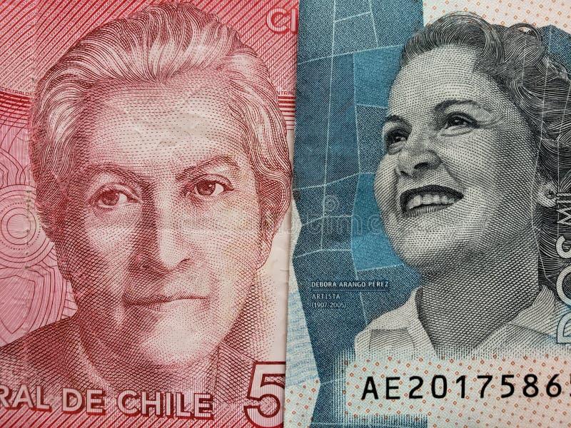 benadering van Chileens bankbiljet van 5000 peso's en Columbiaans bankbiljet van 2000 peso's