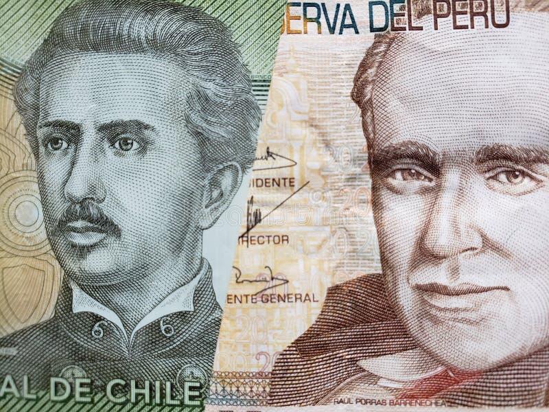 benadering van Chileens bankbiljet van 1000 peso's en Peruviaans bankbiljet van twintig zolen