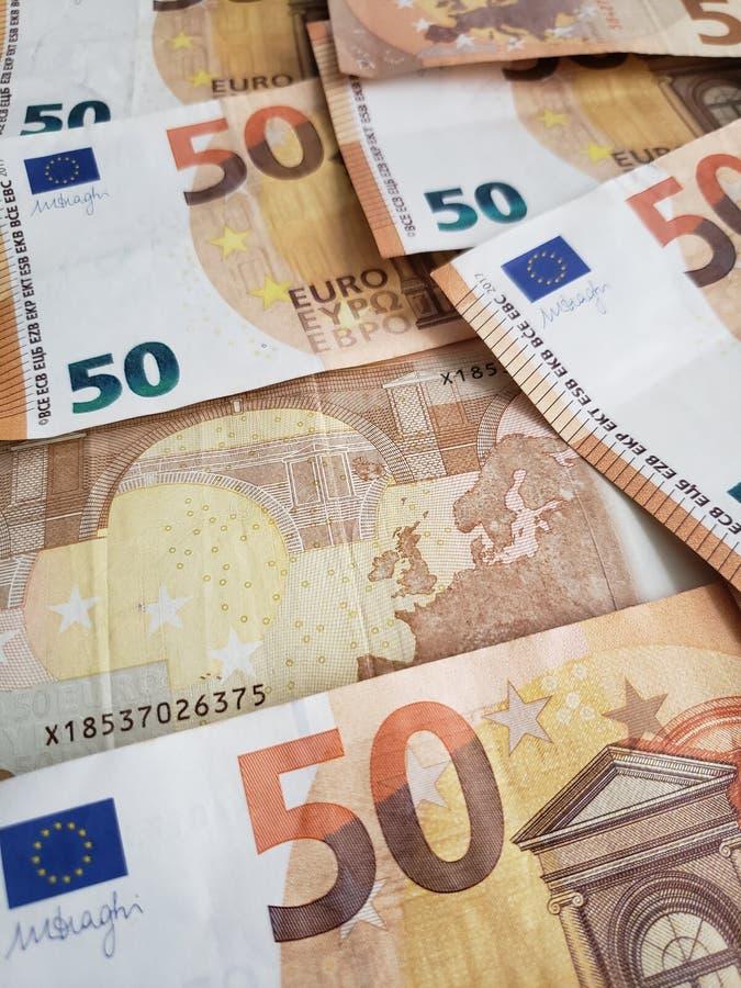 benadering van Europese bankbiljetten van vijftig euro, achtergrond en textuur royalty-vrije stock foto