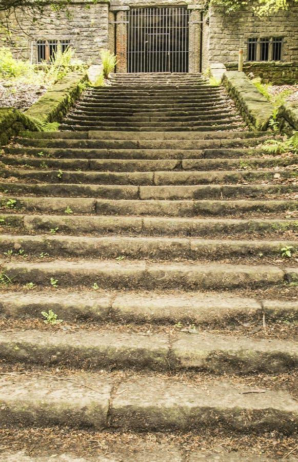 Benadering van Summerhouse bij de Terrasvormige Tuinen van Rivington stock fotografie