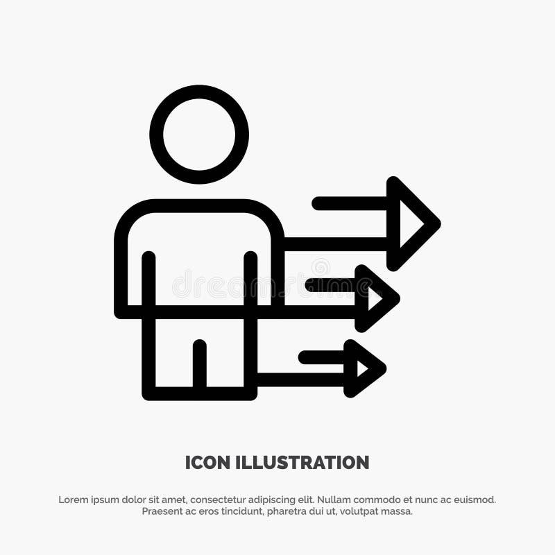 Benadering, Zaken, Leiding, de Moderne Vector van het Lijnpictogram stock illustratie