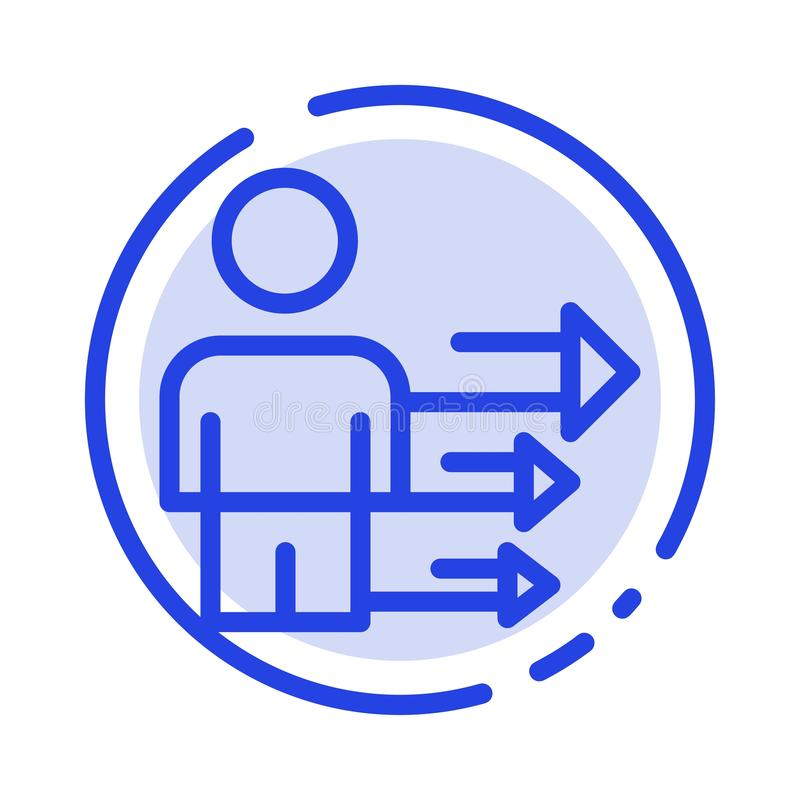 Benadering, Zaken, Leiding, het Moderne Blauwe Pictogram van de Gestippelde Lijnlijn vector illustratie