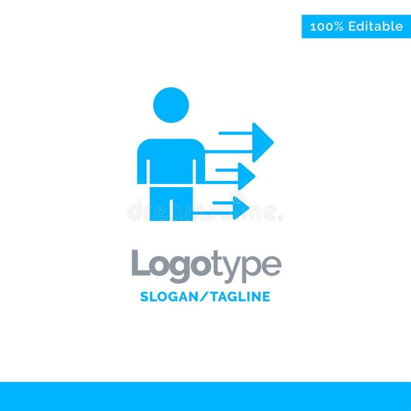 Benadering, Zaken, Leiding, Modern Blauw Stevig Logo Template Plaats voor Tagline stock illustratie
