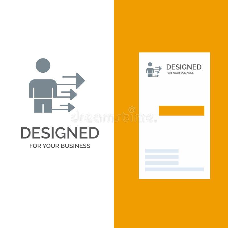 Benadering, Zaken, Leiding, Modern Grey Logo Design en Visitekaartjemalplaatje stock illustratie