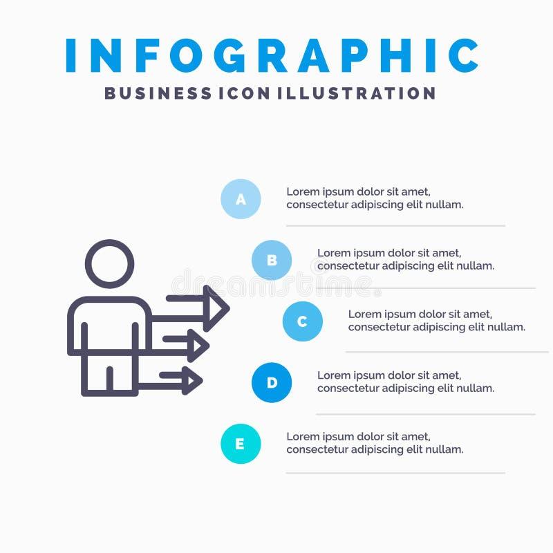 Benadering, Zaken, Leiding, Modern Lijnpictogram met infographicsachtergrond van de 5 stappenpresentatie vector illustratie