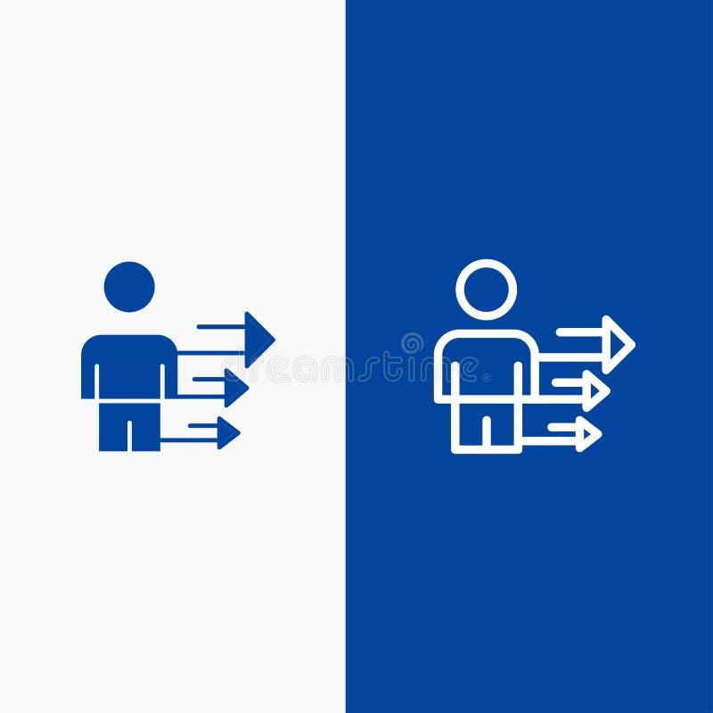 Benadering, Zaken, Leiding, Moderne Lijn en Lijn van de het pictogram Blauwe banner van Glyph de Stevige en Stevige het pictogram stock illustratie