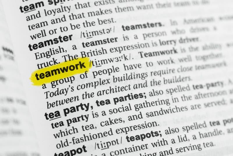 Benadrukt Engels woord` groepswerk ` en zijn definitie bij het woordenboek royalty-vrije stock fotografie