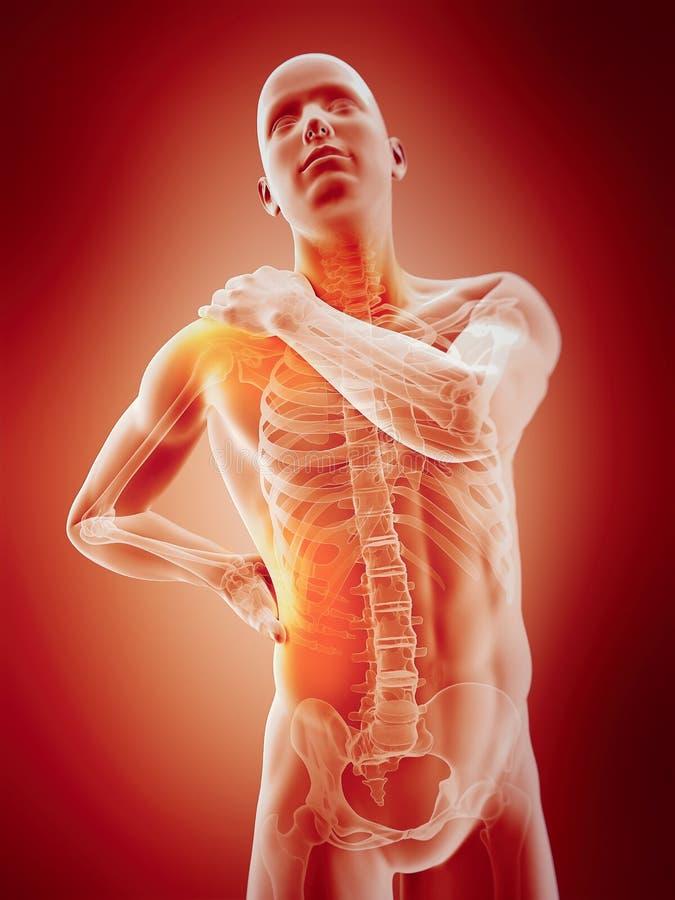 Benadrukte delen van het menselijke lichaam stock illustratie