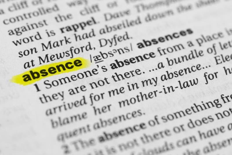 Benadrukte Engelse woord` afwezigheid ` en zijn definitie in het woordenboek royalty-vrije stock foto