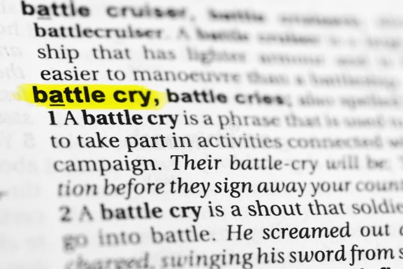 Benadrukte Engelse woord` strijdkreet ` en zijn definitie in het woordenboek royalty-vrije stock afbeelding
