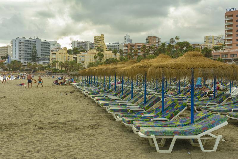 Benalmadena海滩,安达卢西亚省,西班牙 库存图片