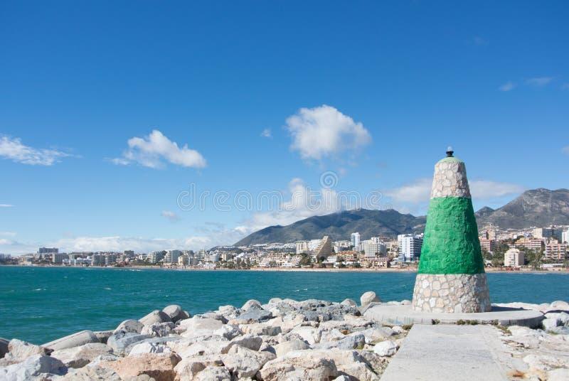 Benalmadena灯塔和对地中海和海岸的一个看法 免版税库存照片