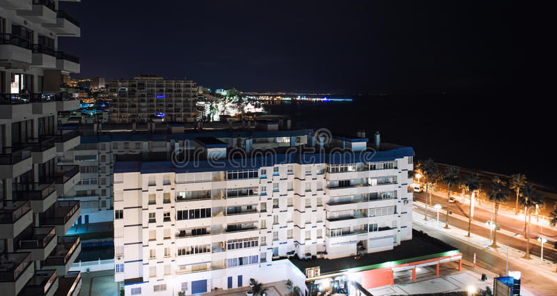 Benalmadena的夜视图 库存照片
