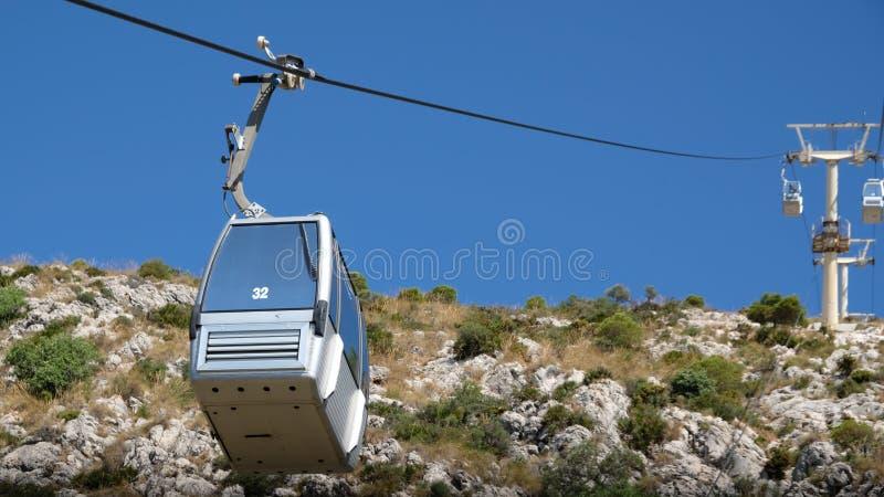 BENALMADENA, ANDALUCIA/SPAIN - 7. JULI: Drahtseilbahn, zum von Calam anzubringen stockfotografie