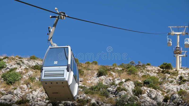 BENALMADENA ANDALUCIA/SPAIN - JULI 7: Kabelbil som monterar Calam arkivbild