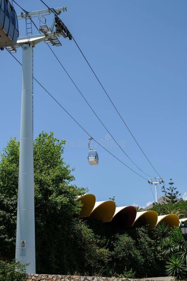 BENALMADENA, ANDALUCIA/SPAIN - JULY 7 : Cable Car to Mount Calamorro near Benalmadena Spain on July 7, 2017 royalty free stock images