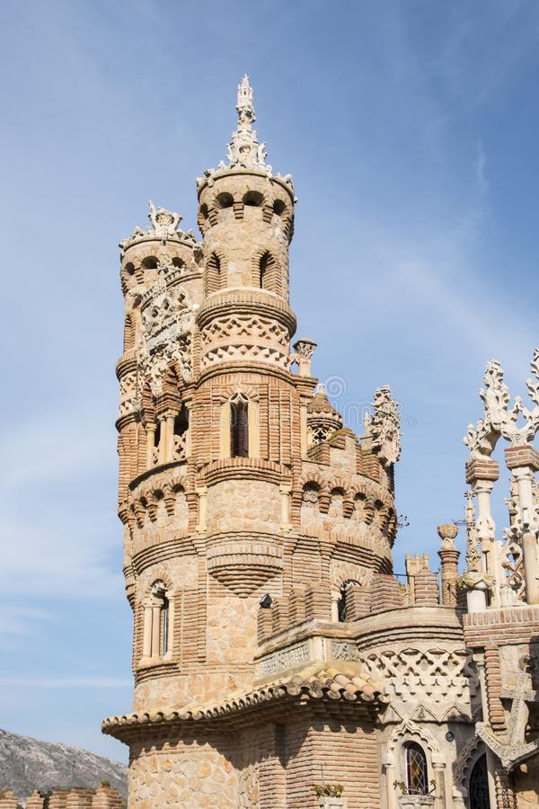 Benalmadena, Andalusien, Spanien - 4. März 2019: Teil von Castillo de Colomares Es ist eine Art Märchenschloss, eingeweiht  stockfotografie