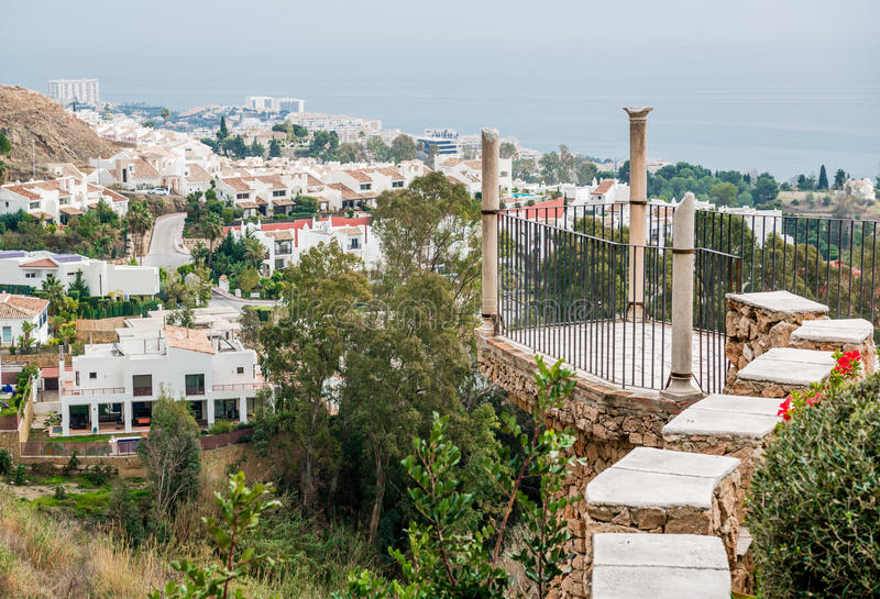 Benalmadena Colomares城堡和看法的观察台  免版税库存照片